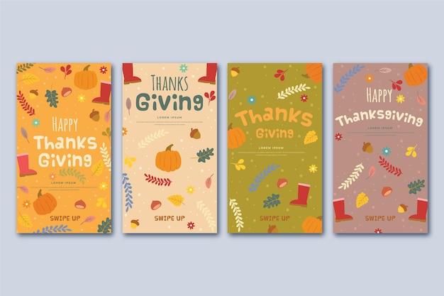 Diseño de historias de instagram del día de acción de gracias