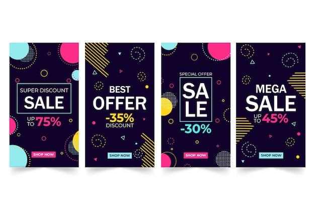Diseño de historias de venta de instagram colorido abstracto