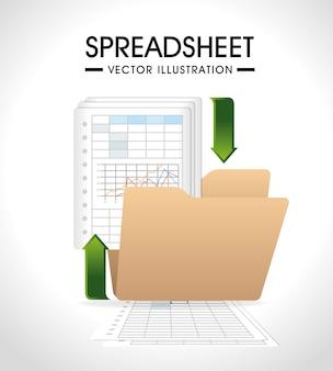 Diseño de hoja de cálculo, ilustración vectorial.