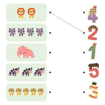 Diseño de la hoja de trabajo del juego de animales.