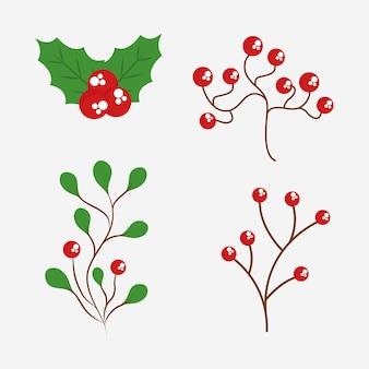 Diseño de hojas de feliz navidad, tema de temporada de invierno.