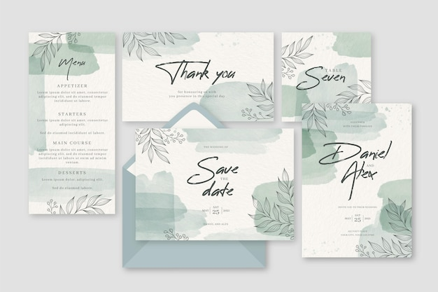 Diseño de hojas en invitación de papelería de boda.