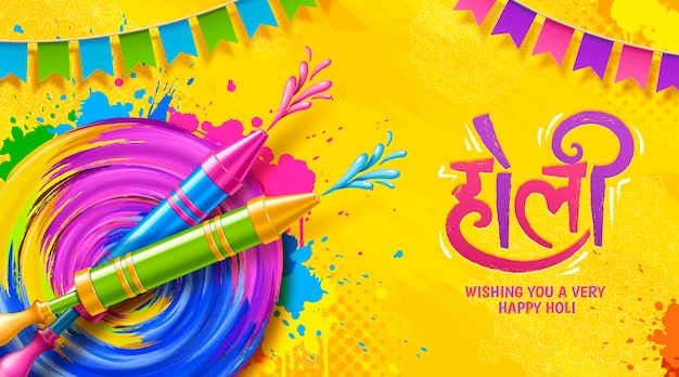 Diseño holi colorido con pintura de tiro pichkari
