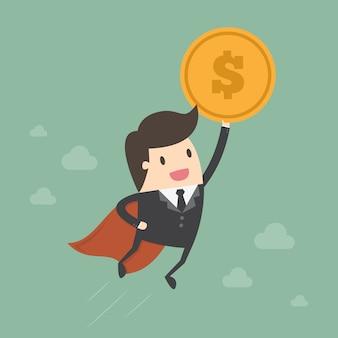 Diseño de hombre de negocios con una moneda
