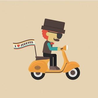 Diseño de hombre en una scooter