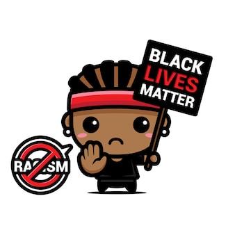 Diseño de un hombre con un símbolo de detener el racismo