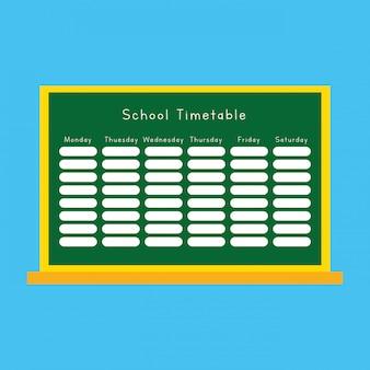 Diseño de horario escolar sobre dibujos animados de pizarra. de vuelta a la escuela. ilustración