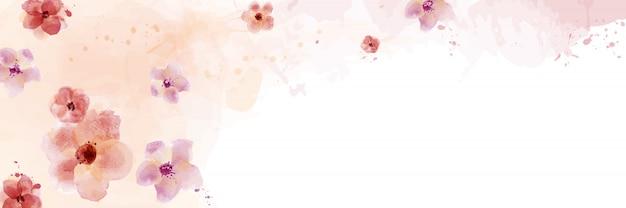 Diseño horizontal con flor de acuarela pintada a mano.