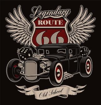 Diseño de hot rod americano vintage sobre fondo oscuro. diseño de camiseta en estilo rockabilly.