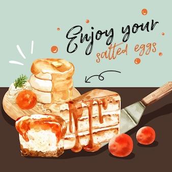 Diseño de huevo salado con panqueque ilustración acuarela.