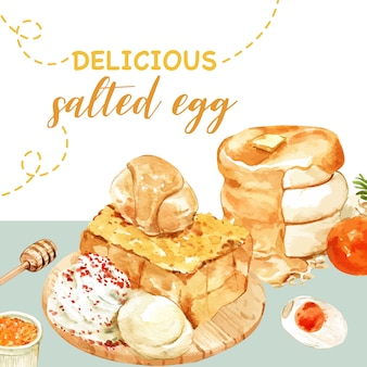 Diseño de huevo salado con panqueque, tostadas ilustración acuarela.