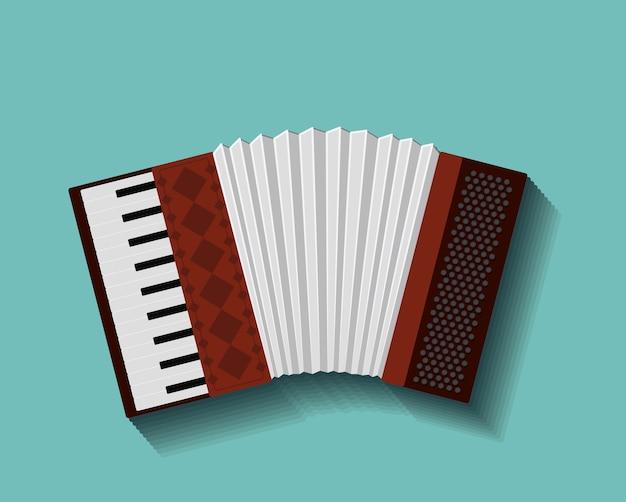 Diseño de icono aislado de instrumento de acordeón