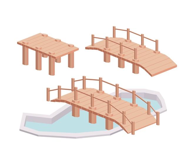 Diseño de icono aislado isométrico de madera de puente