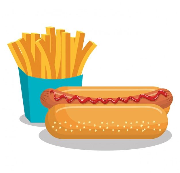 Diseño de icono aislado papas fritas y perro caliente