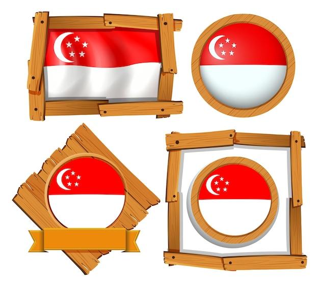 Diseño de icono para la bandera de singapur