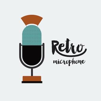 Diseño de icono de cartel retro micrófono aislado