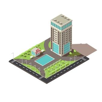 Diseño de icono de edificio de oficinas isométrico