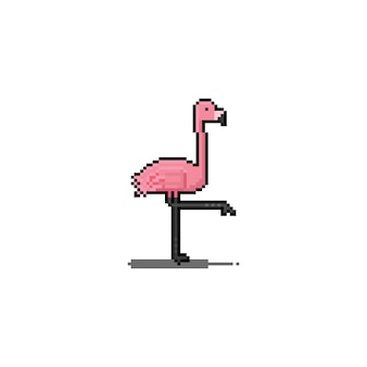 Diseño de icono de flamenco de dibujos animados de pixel art.