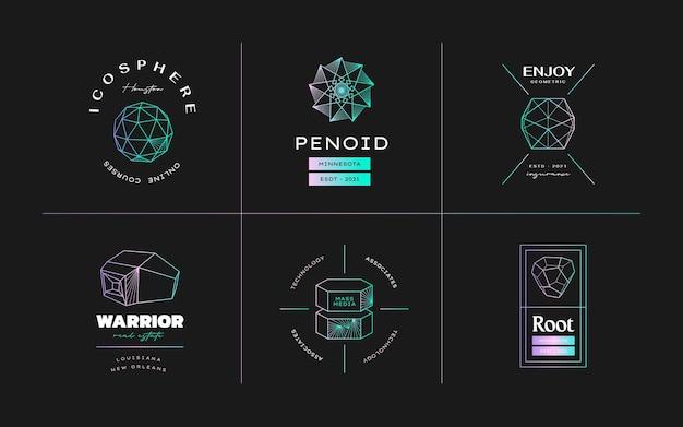 Diseño de icono geométrico conjunto moderno abstracto de vector en lstyle de moda