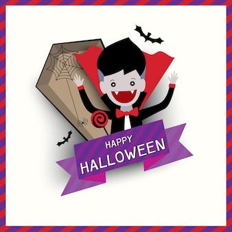 Diseño de icono de halloween con vampiro.