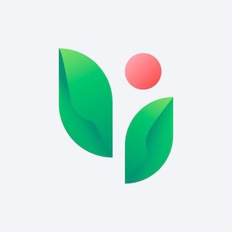 Diseño de icono de hoja de logotipo de empresa sostenible