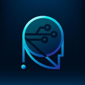 Diseño de icono de insignia robótica degradado