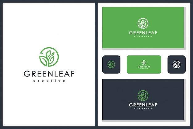 Diseño de icono de logotipo abstracto hoja verde