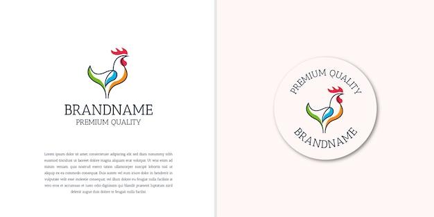 Diseño de icono de logotipo de contorno de gallo