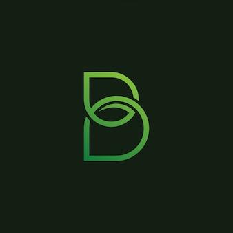 Diseño de icono de logotipo de hoja de letra b