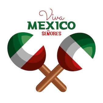Diseño de icono de maracas bandera de méxico