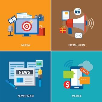 Diseño de icono plano de publicidad y promoción.