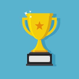Diseño de icono plano trofeo copa con manijas y placa de identificación en blanco.