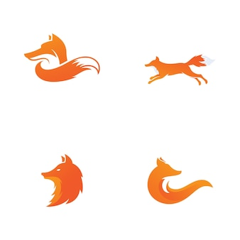 Diseño de icono de silueta de ilustración de vector de zorro