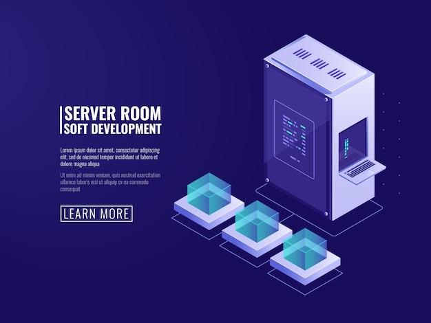 Diseño del ícono de sistemas de información, servidor web, equipo de cómputo, procesamiento de big data.