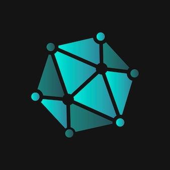 Diseño de icono de tecnología de vector de logo de molécula degradado vector gratuito
