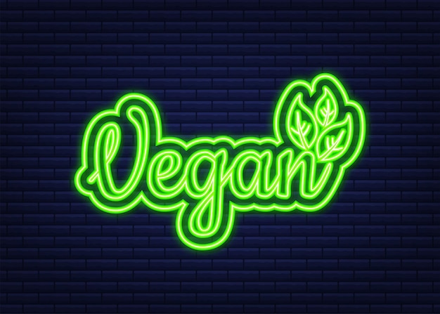 Diseño de icono vegano. símbolo amigable vegano verde. icono de neón. ilustración vectorial.