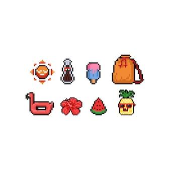 Diseño de icono de verano tropical de pixel art.