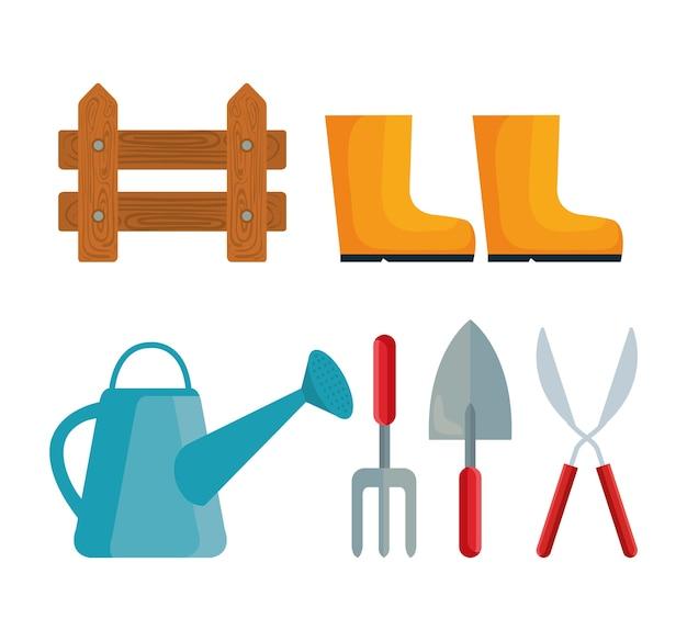 Diseño de iconos de conjunto de jardinería, plantación de jardines y tema de la naturaleza