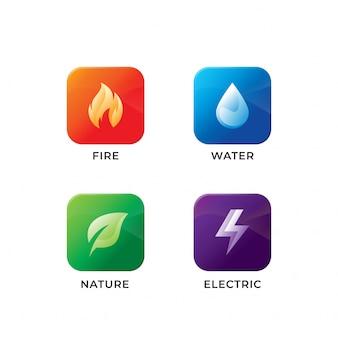 Diseño de iconos de cuatro elementos