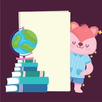 Diseño de iconos y dibujos animados de ardilla de regreso a la escuela, clase de educación y tema de lección