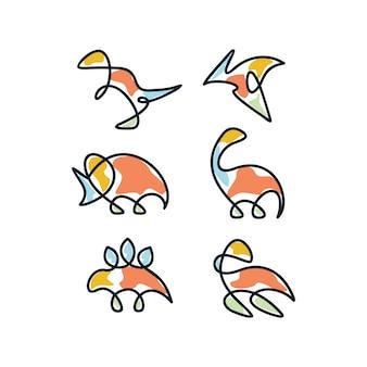 Diseño de iconos de dinosaurio multicolor