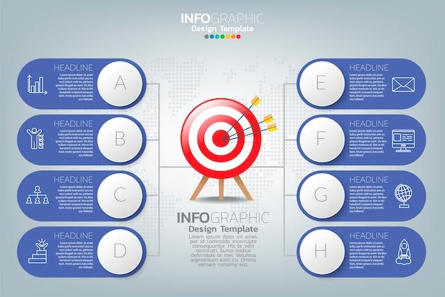 El diseño y los iconos de infografía se pueden utilizar para el diseño del flujo de trabajo, diagrama, informe, diseño web. concepto de negocio con opciones, pasos o procesos.