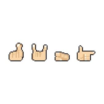 Diseño de iconos de mano de dibujos animados de pixel art con 4 pose.