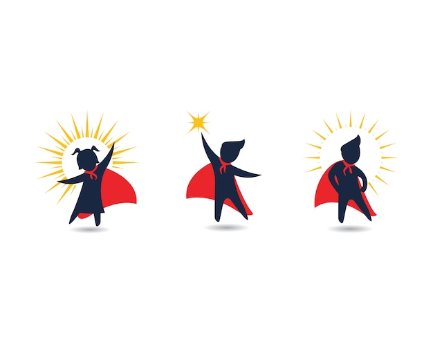 Diseño de iconos de super concepto de niños