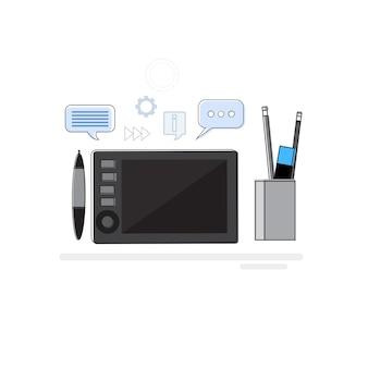 Diseño idea graphic designer drawing icon web banner línea fina vector illustration
