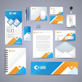 Diseño de identidad corporativa azul.