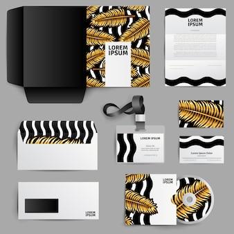 Diseño de identidad corporativa con hojas de palma doradas.