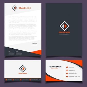 Diseño de identidad corporativa naranja y negra