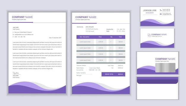 Diseño de identidad corporativa de negocios de papelería moderna con factura de plantilla de membrete y tarjeta de visita diseño de plantilla de papelería