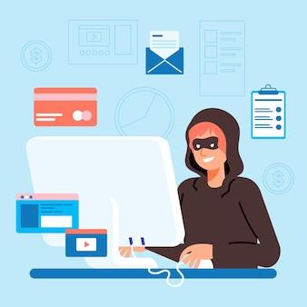Diseño de ilustración de actividad hacker